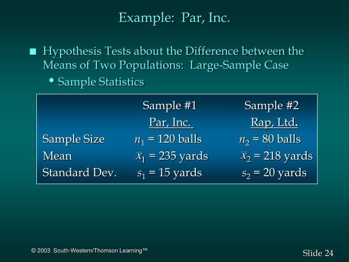 Example:  Par, Inc.