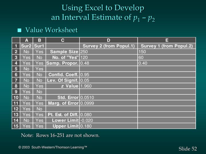 Using Excel to Develop
