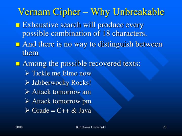 Vernam Cipher – Why Unbreakable