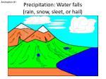 precipitation water falls rain snow sleet or hail
