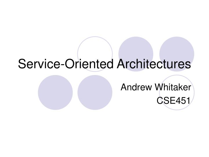 service oriented architectures n.
