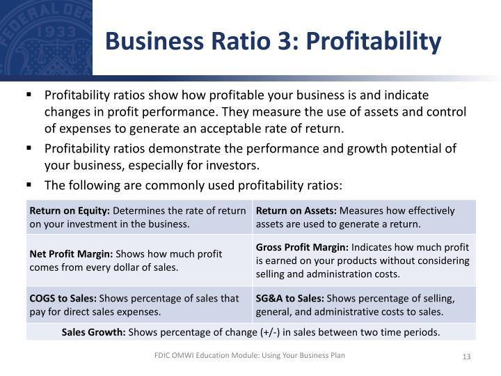 Business Ratio 3: Profitability