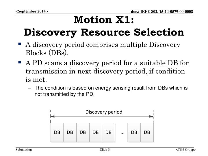 Motion x1 discovery resource selection