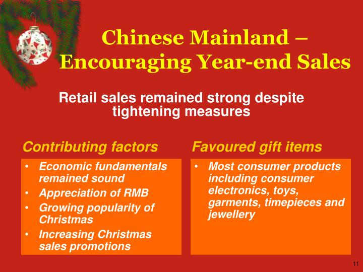 Chinese Mainland – Encouraging Year-end Sales