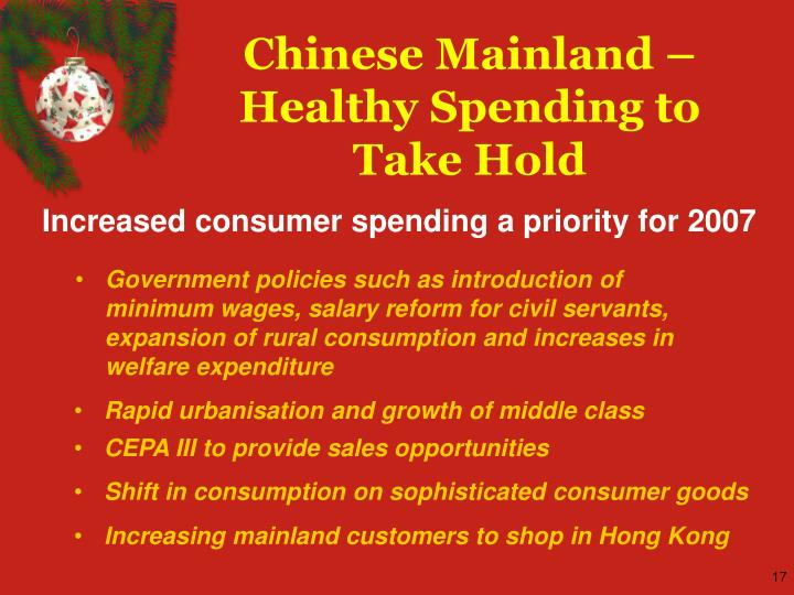 Chinese Mainland – Healthy Spending to Take Hold