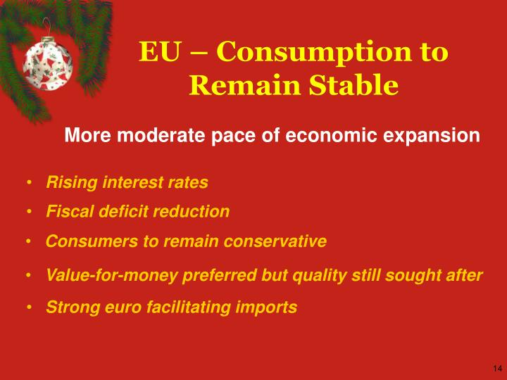 EU – Consumption to Remain Stable