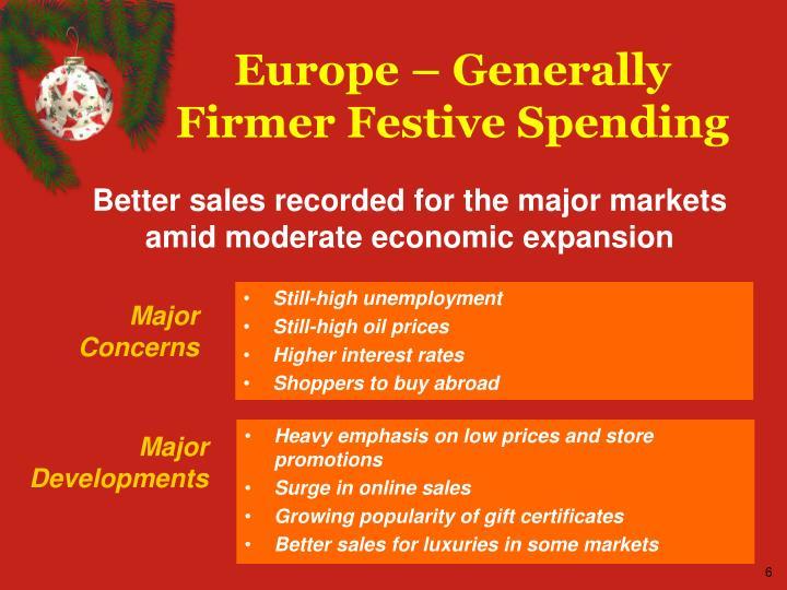 Europe – Generally Firmer Festive Spending