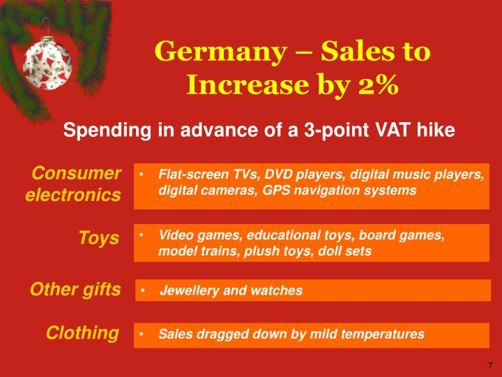 Germany – Sales to Increase by 2%
