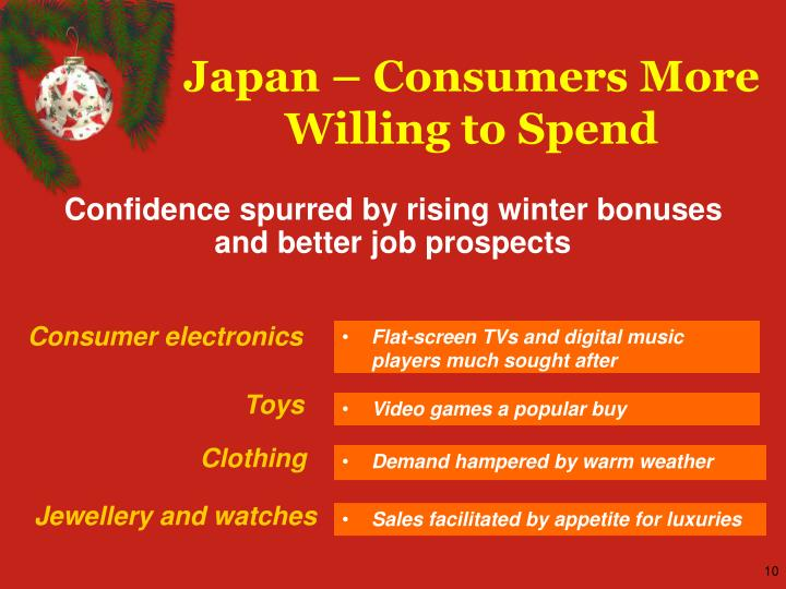 Japan – Consumers More Willing to Spend
