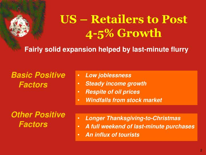 Us retailers to post 4 5 growth