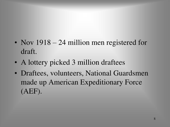Nov 1918 – 24 million men registered for draft.