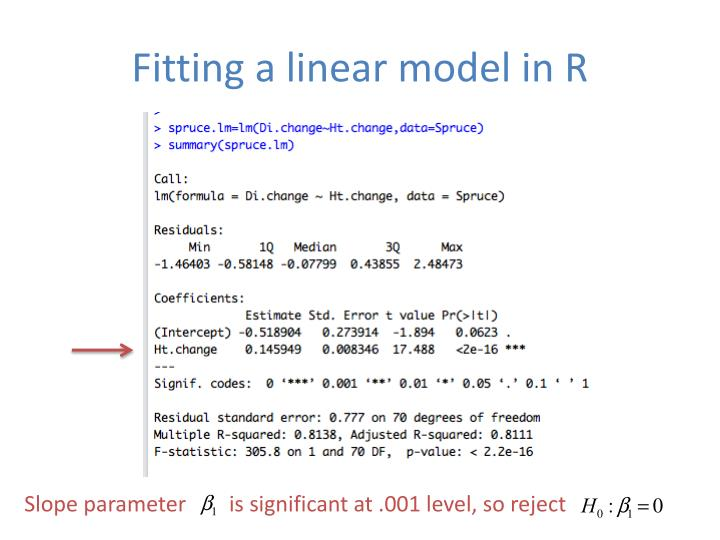 Fitting a linear model in R