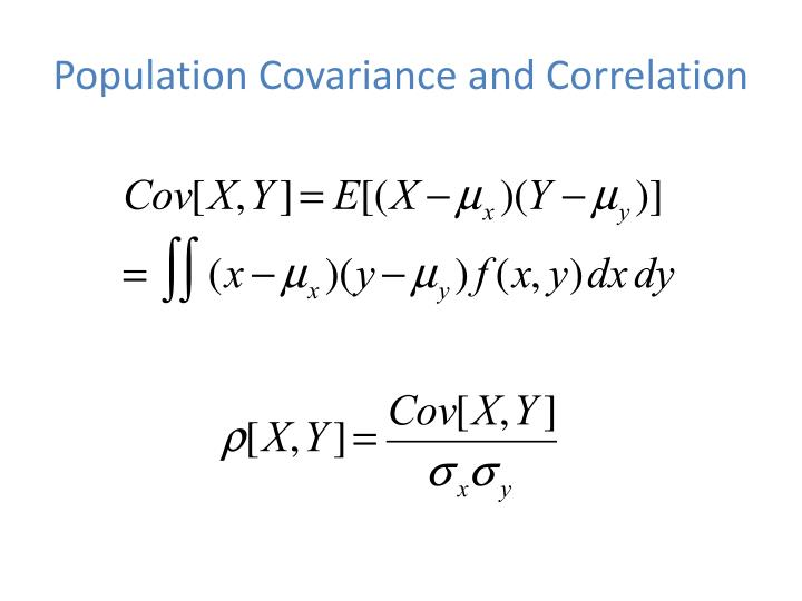 Population covariance and correlation