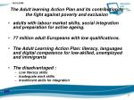 the adult learning action plan and its contribution to the fight against poverty and exclusion
