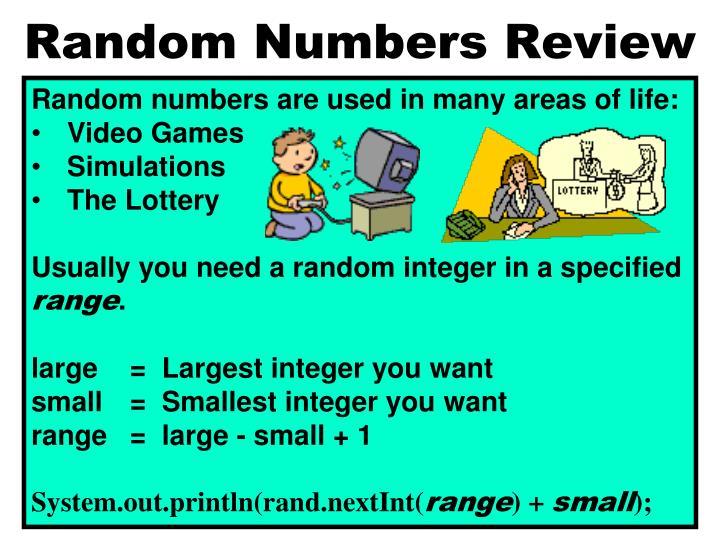 Random Numbers Review