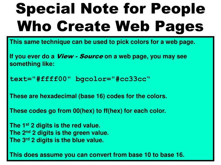 Special Note for People