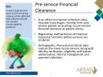 pre service financial clearance