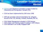 canadian orientation abroad