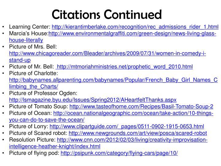 Citations Continued