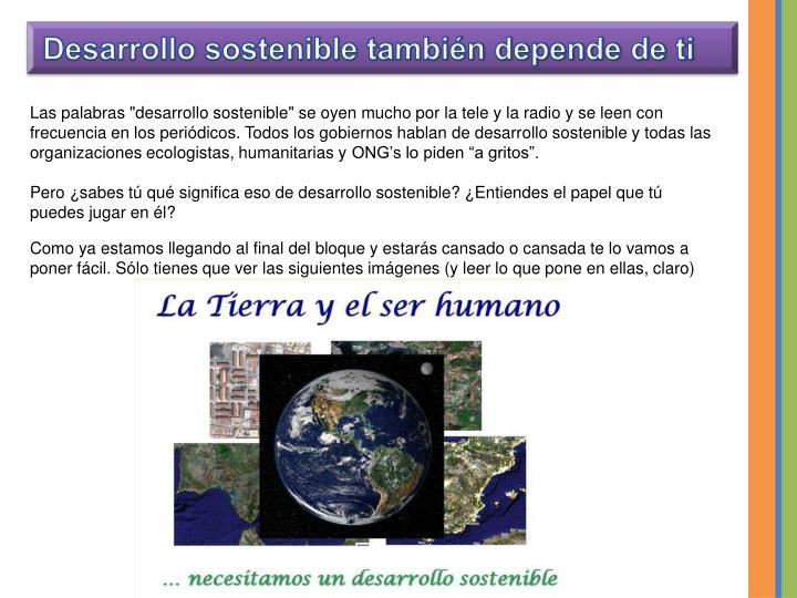 Desarrollo sostenible también depende de ti