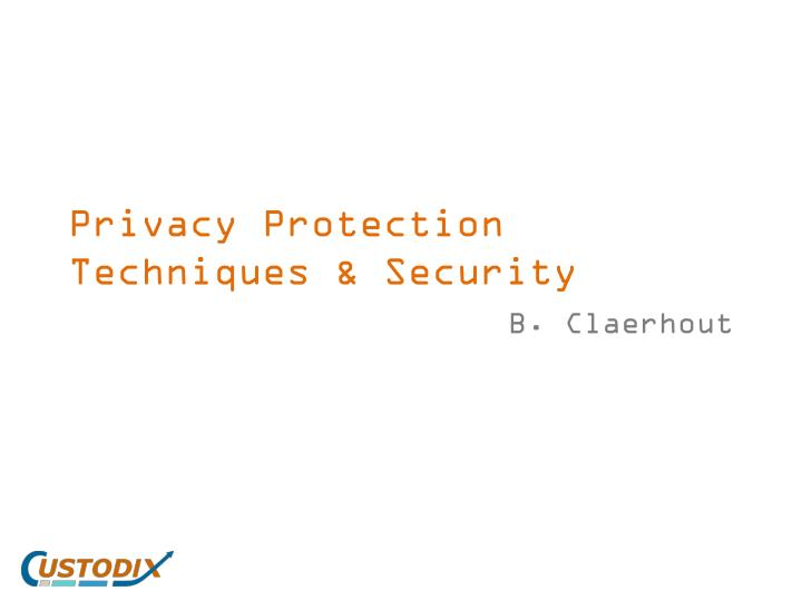 privacy protection techniques security n.