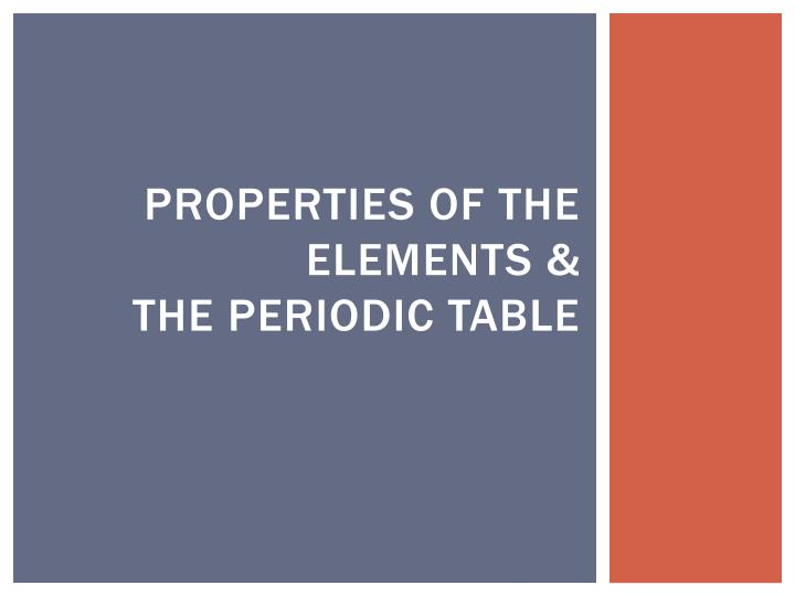 properties of the elements the periodic table n.