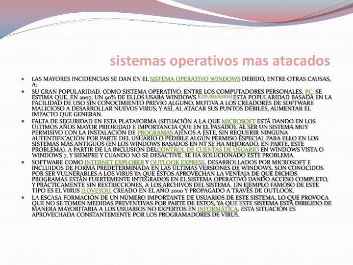 Sistemas operativos mas atacados