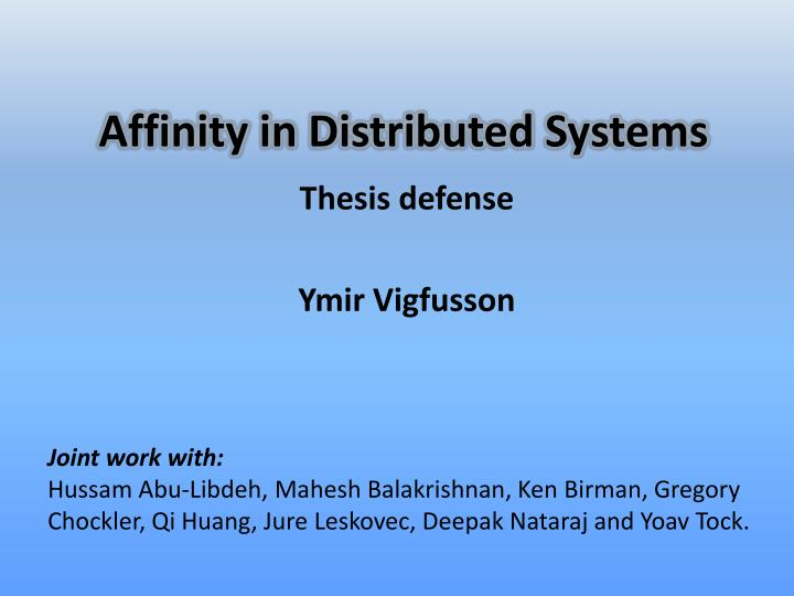 affinity in distributed systems n.