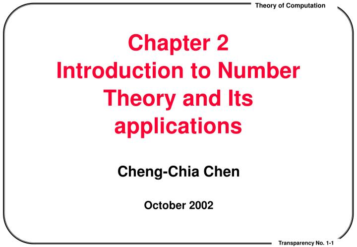 chapter 2 introduction to number theory and its applications n.