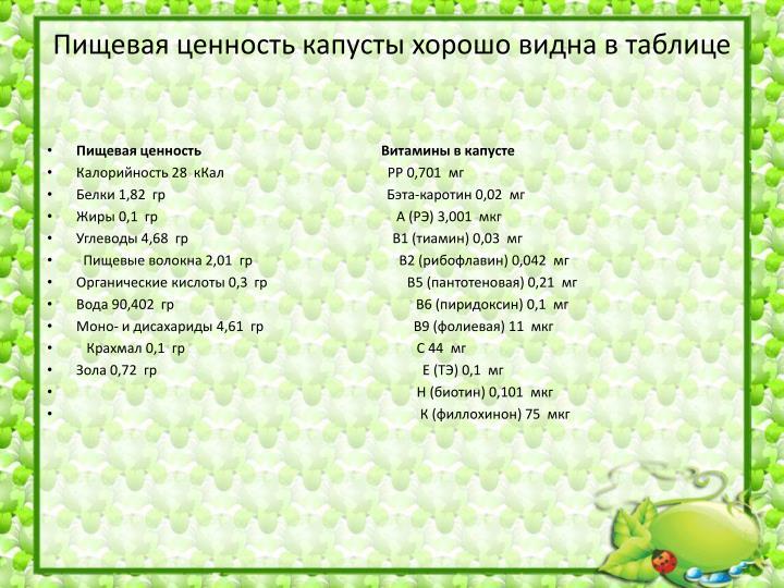 Пищевая ценность капусты хорошо видна в таблице