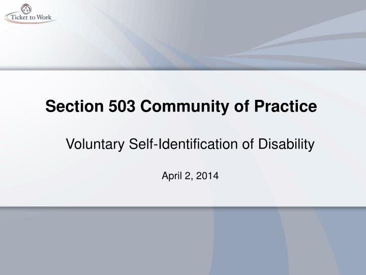 section 503 community of practice n.