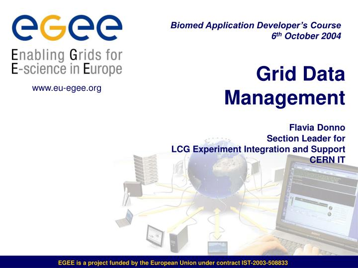 grid data management flavia donno section leader for lcg experiment integration and support cern it n.