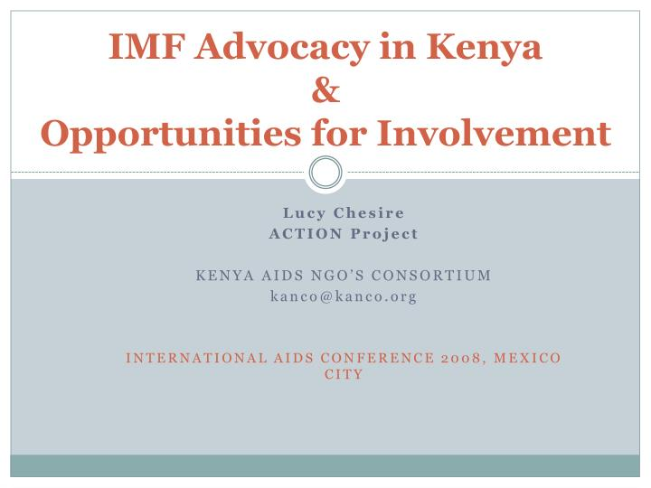 imf advocacy in kenya opportunities for involvement n.