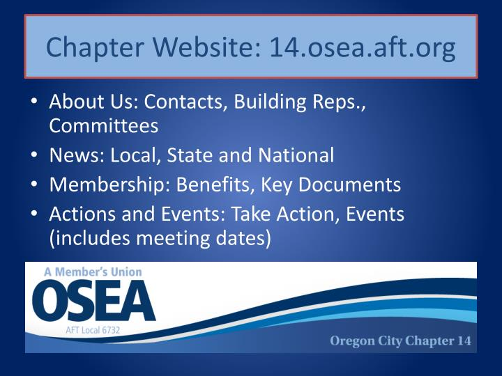 Chapter Website: 14.osea.aft.org