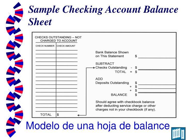 Sample Checking Account Balance Sheet