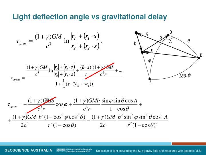 Light deflection angle vs gravitational delay