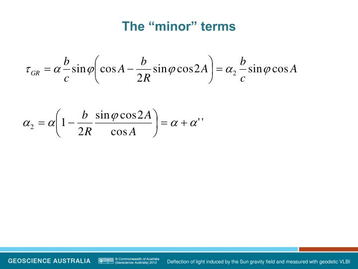 """The """"minor"""" terms"""