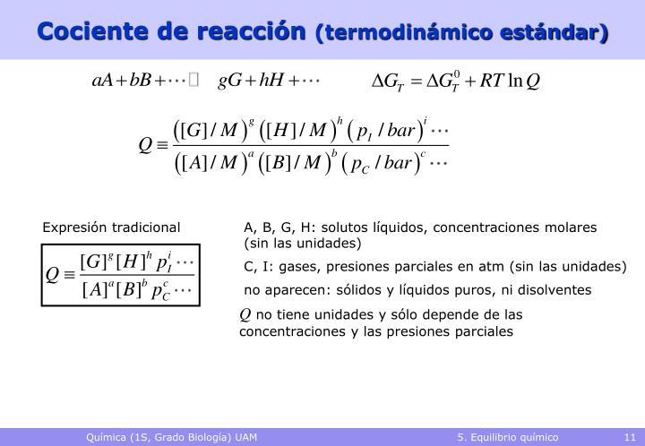 Cociente de reacción