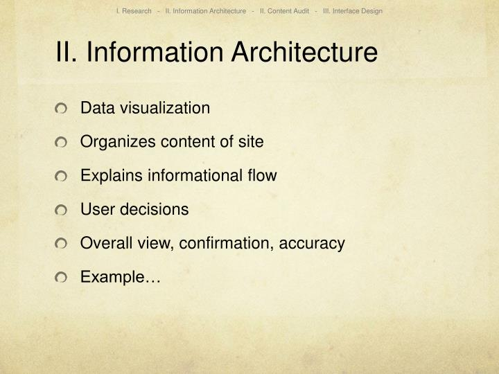 I. Research   -   II. Information Architecture   -   II. Content Audit   -   III. Interface Design