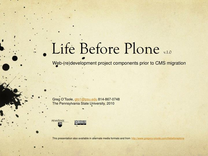 Life before plone v 1 0