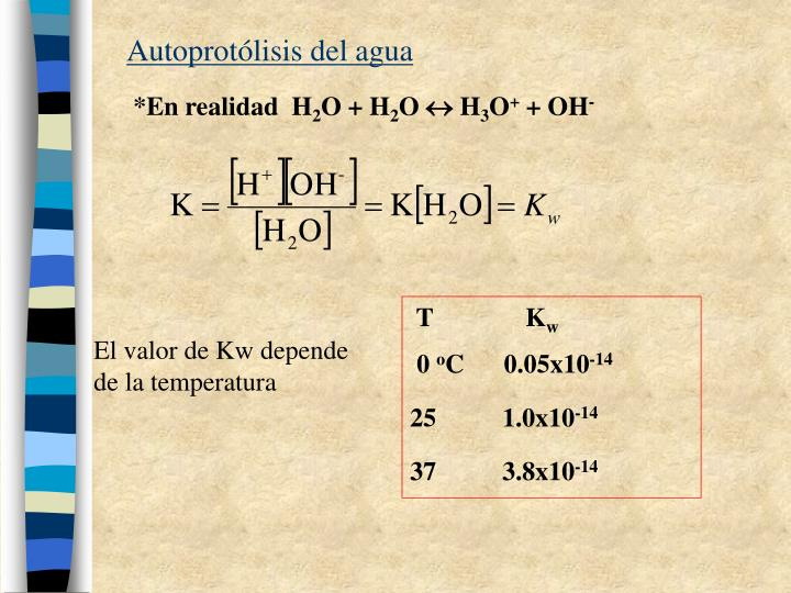 autoprot lisis del agua n.