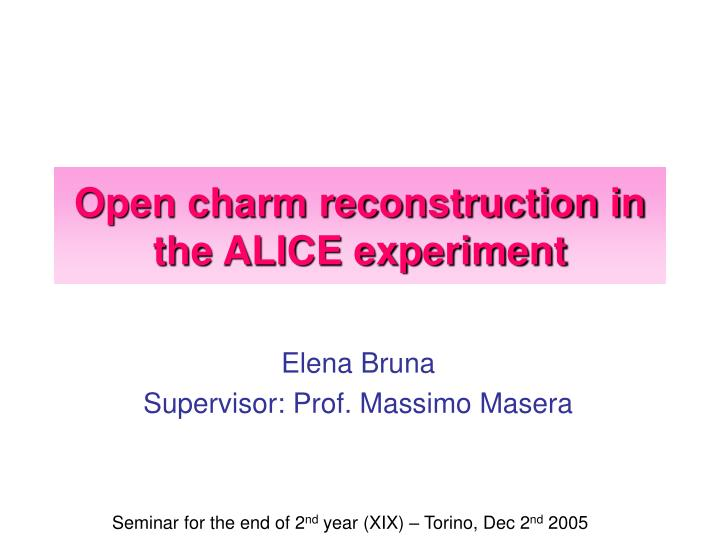 open charm reconstruction in the alice experiment n.