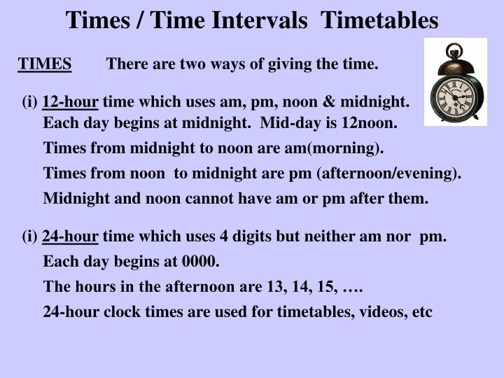 times time intervals timetables n.