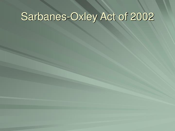 sarbanes oxley act of 2002 n.