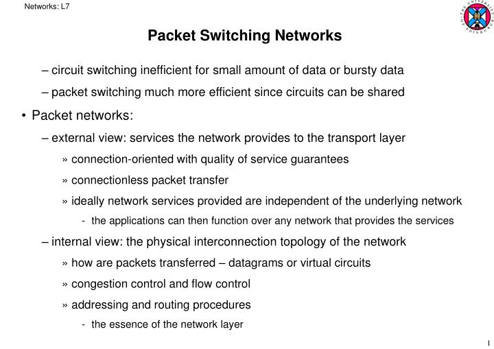 packet switching networks n.