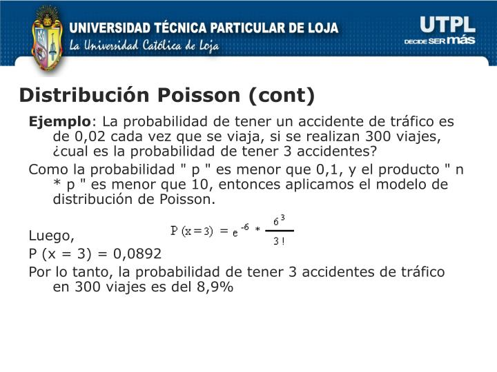 Distribución Poisson (cont)