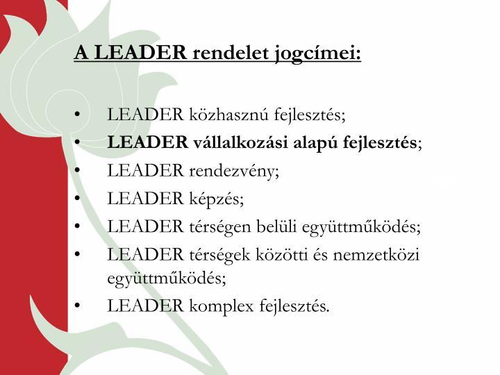 A LEADER rendelet jogcímei: