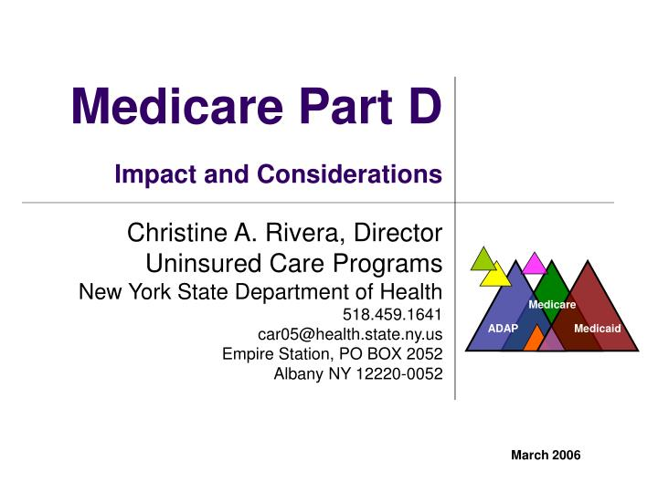 medicare part d impact and considerations n.
