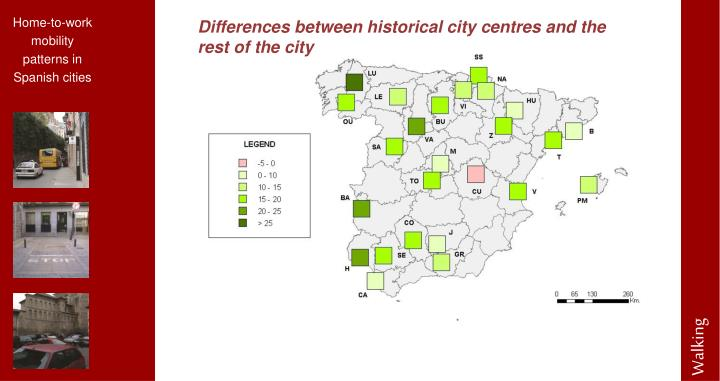 Differences between historical city centres and the rest of the city