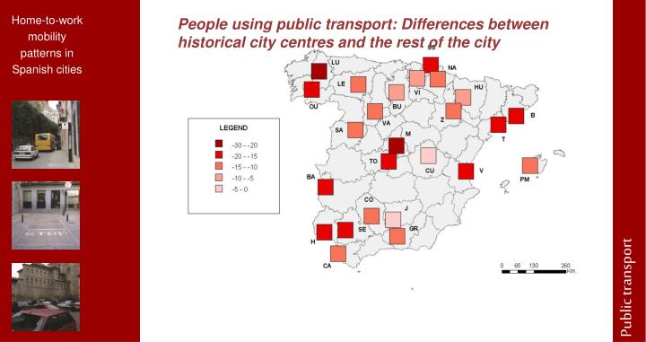 People using public transport: Differences between historical city centres and the rest of the city